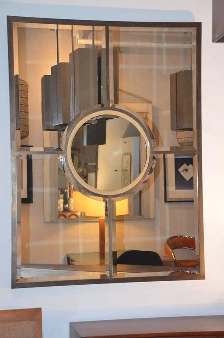 Pair of solid brass beveled 'Quadrature' mirrors by Design Frères. Handmade and patinated in Los Angeles by our skilled artisans. Also sold individually.
