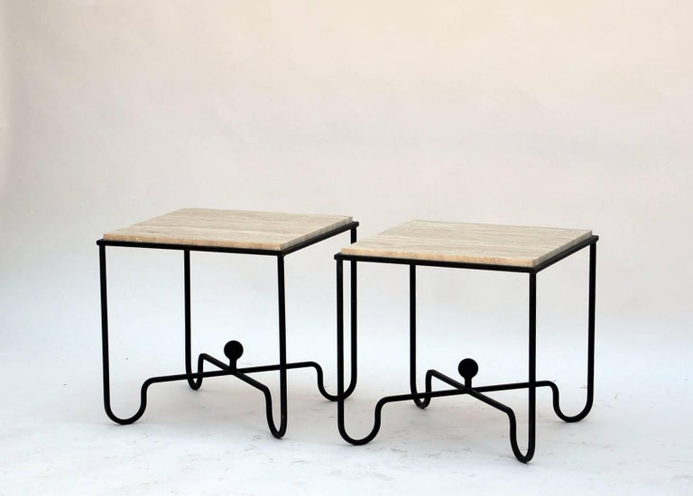 Pair of Wrought Iron and Travertine 'Entretoise' Side Tables by Design Frères For Sale 3