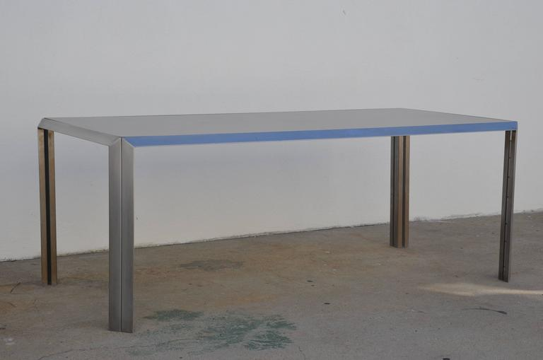 Rare Brushed Stainless Steel and Laminate Desk by Bernard Marange for TFM For Sale 1