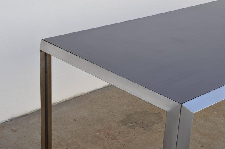 Minimalist Rare Brushed Stainless Steel and Laminate Desk by Bernard Marange for TFM For Sale
