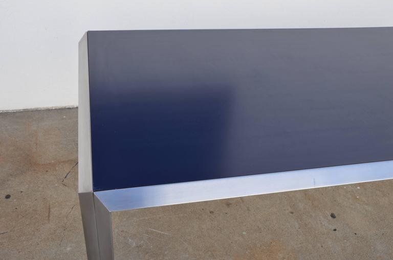 French Rare Brushed Stainless Steel and Laminate Desk by Bernard Marange for TFM For Sale