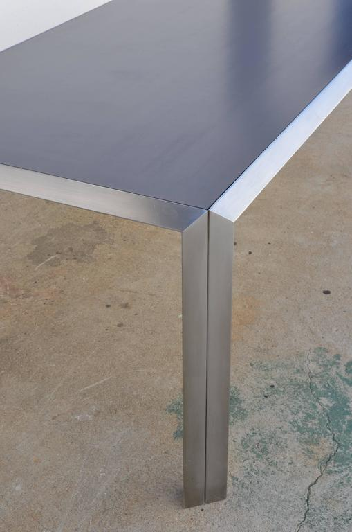 Late 20th Century Rare Brushed Stainless Steel and Laminate Desk by Bernard Marange for TFM For Sale