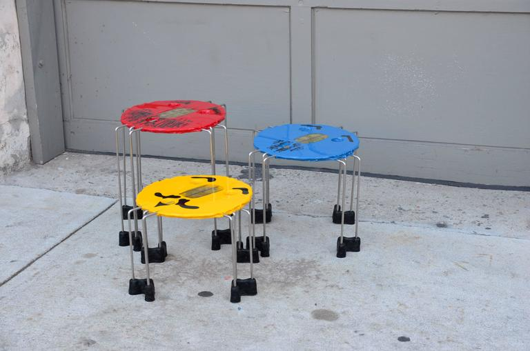Set Of Whimsical Colored Side Tables By Gaetano Pesce 2