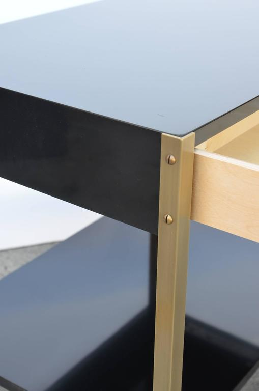 Pair of 'Laque' Black Lacquer and Brass Nightstands by Design Frères 2