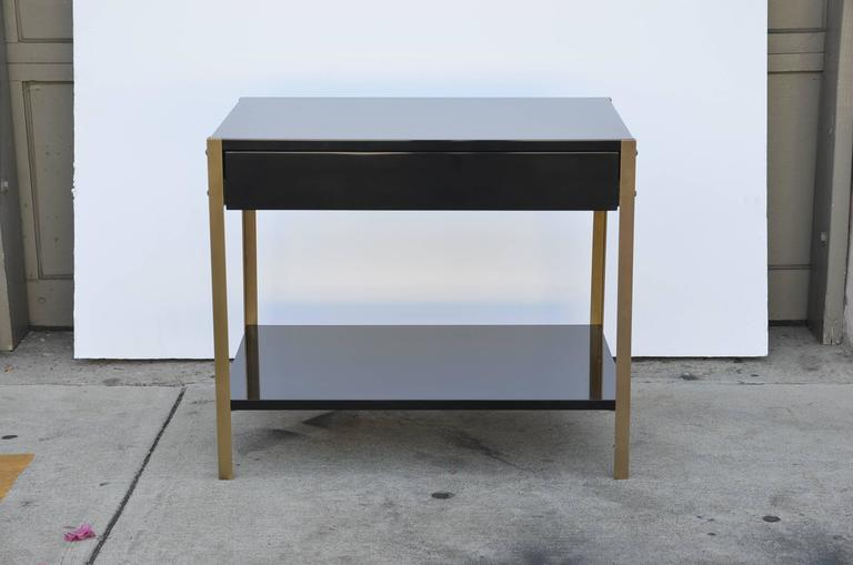 Pair of 'Laque' Black Lacquer and Brass Nightstands by Design Frères 7