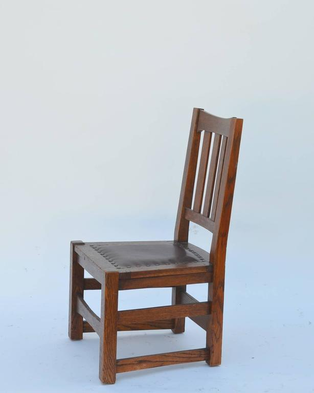 Original Mission Style Arts & Crafts Oak Chair by Stickley Brothers In Good Condition For Sale In Los Angeles, CA