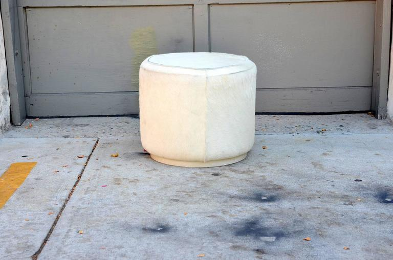 Hide Covered Cylinder Ottoman Stool For Sale At 1stdibs