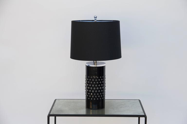 Pair Of Unusual Textured Glass Cylinder Lamps With Custom