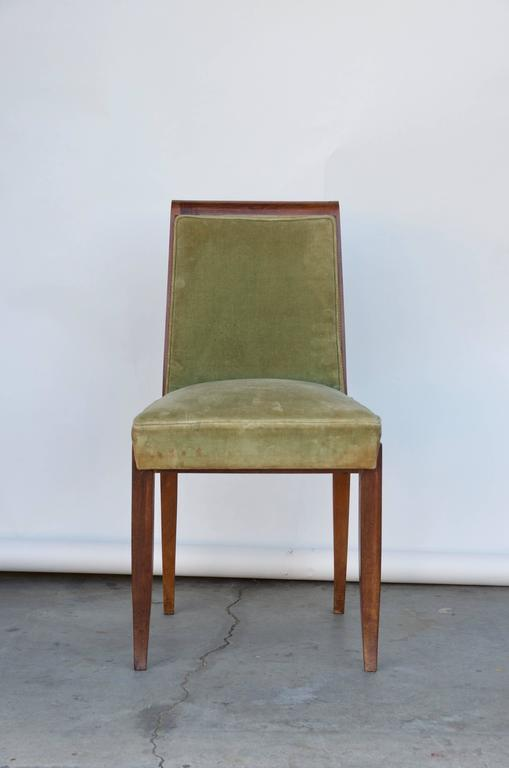 Upholstery Elegant Art Deco Mahogany Side Chair in the Style of Jean Pascaud For Sale