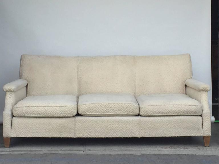 Upholstery Chic Large French 1950s Sofa by Maison Leleu For Sale