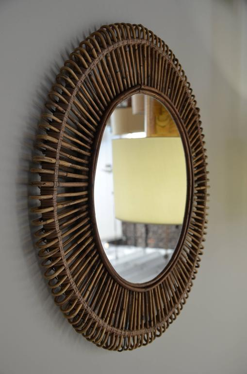 Pair Of Oculus Round Rattan Mirrors For Sale At 1stdibs