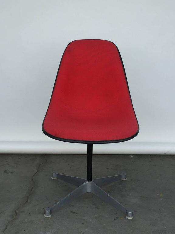 Molded Single Vintage Fabric Contractor Base Eames Swiveling Chair For Sale