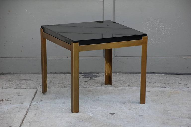 Pair of 'Caisson' Lacquer and Patinated Brass Side Tables by Design Frères 3