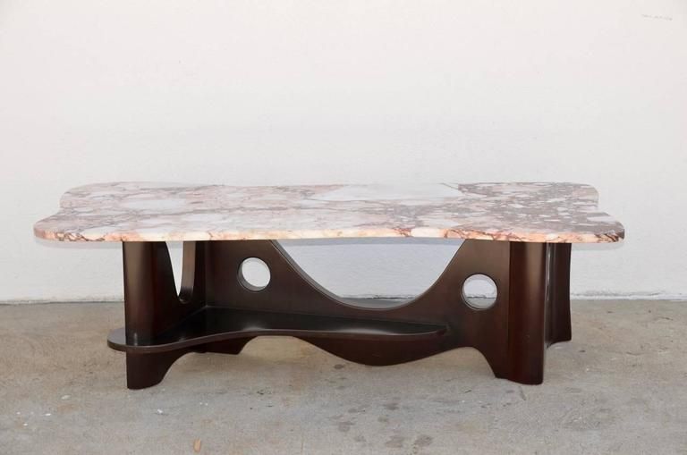 Sculptural Free-Form Marble Long Coffee Table 2