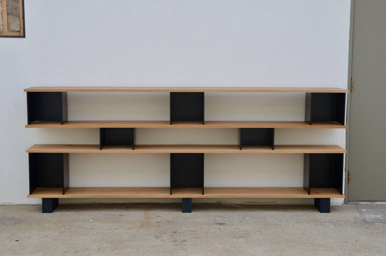 Low 'Horizontal' Matte Black and Polished Oak Shelving Unit by Design Frères 2