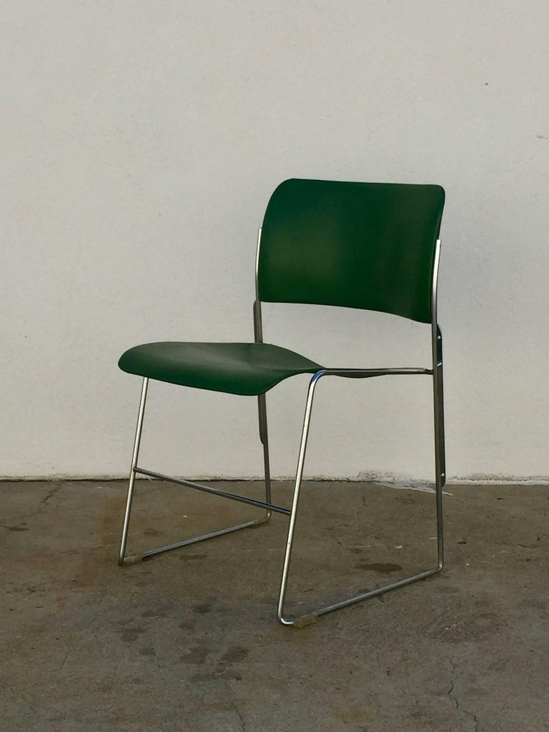 Set of 40/4 Green Chairs by David Rowland 2