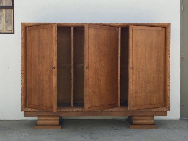 Incredible Polished Oak Low Armoire by Jacques Adnet 2