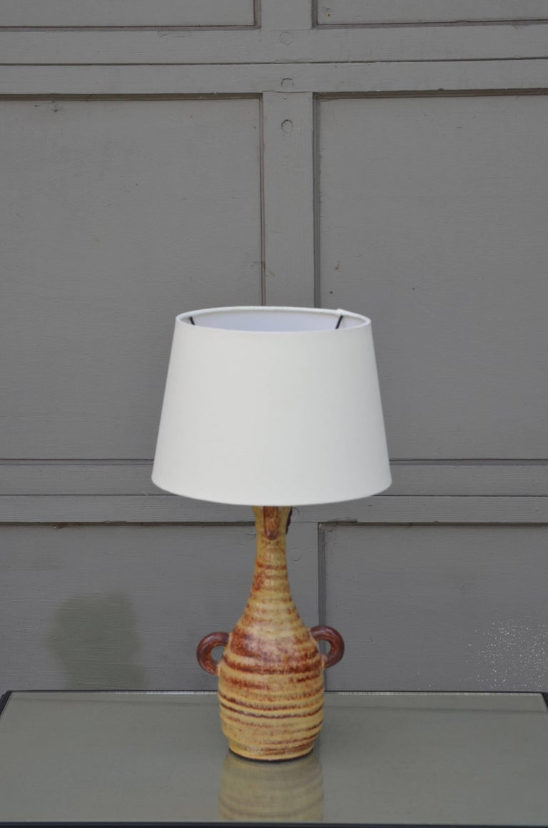 Organic Modern Chic French Gourd-Shaped Glazed Ceramic Lamp by Accolay Pottery, France For Sale