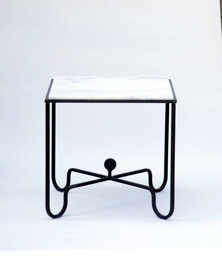 Modern Pair of Wrought Iron and Marble 'Entretoise' Side Tables by Design Frères For Sale