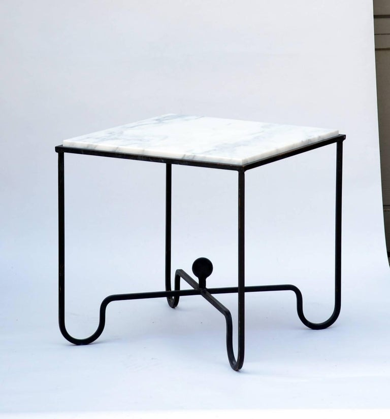 Polished Pair of Wrought Iron and Marble 'Entretoise' Side Tables by Design Frères For Sale