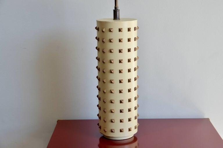 Modern Large Studded Cylinder Table Lamp For Sale