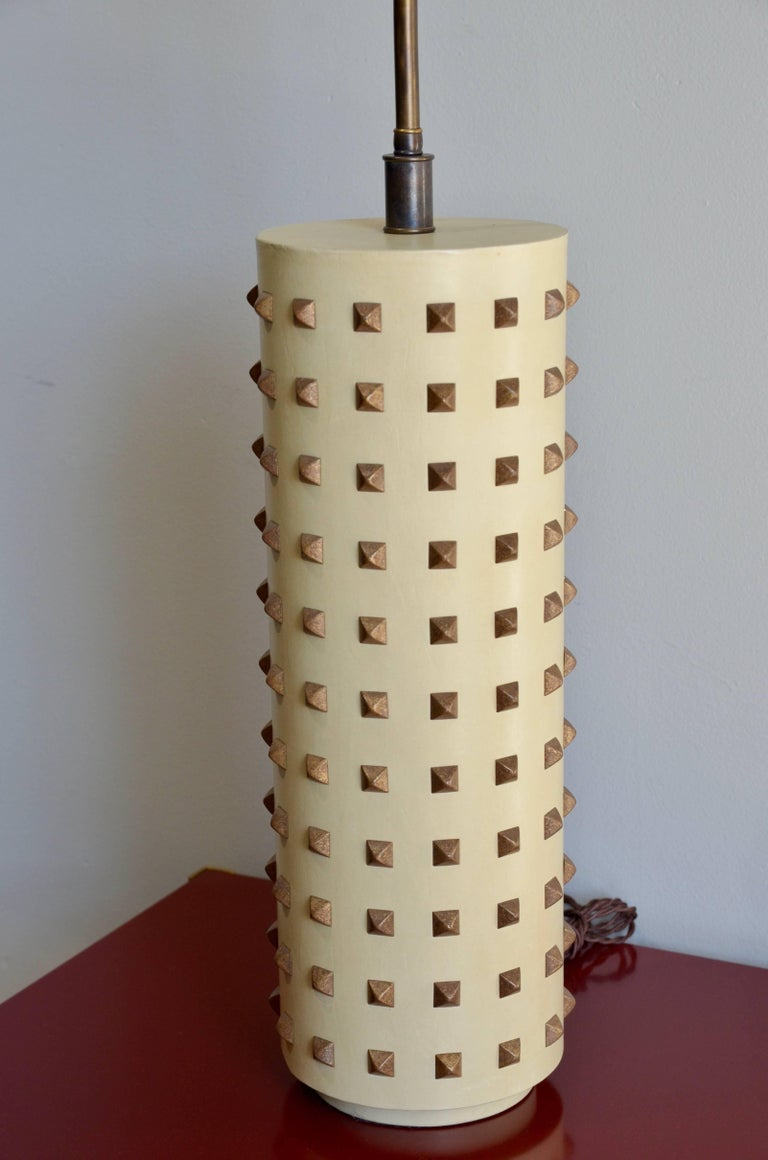 Late 20th Century Large Studded Cylinder Table Lamp For Sale