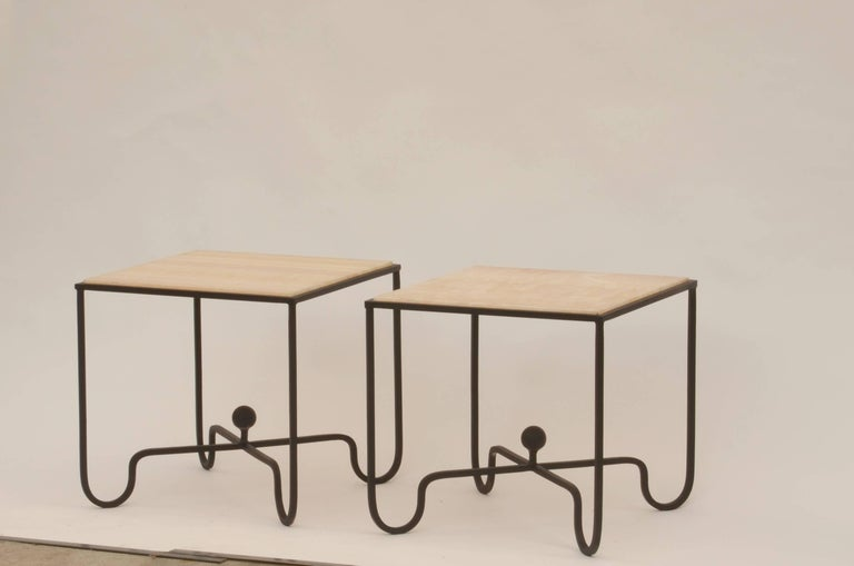 Pair of 'Entretoise' Wrought Iron and Onyx Side Tables by Design Frères For Sale 1