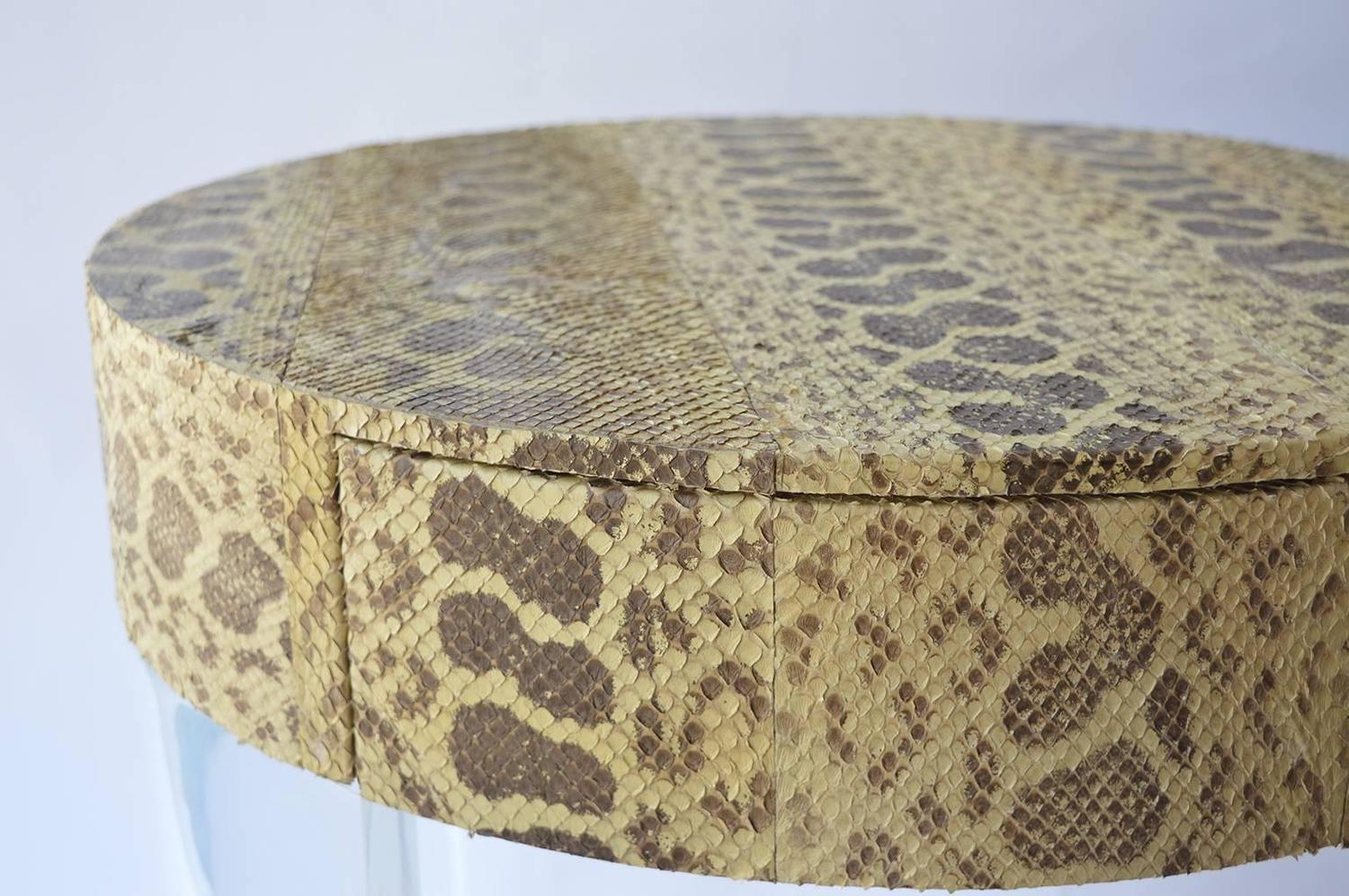 Pair of python covered side tables at 1stdibs for Table in python