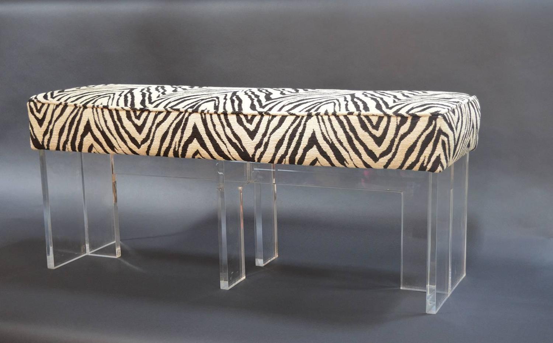 Zebra Print Upholstered Lucite Bench For Sale At 1stdibs