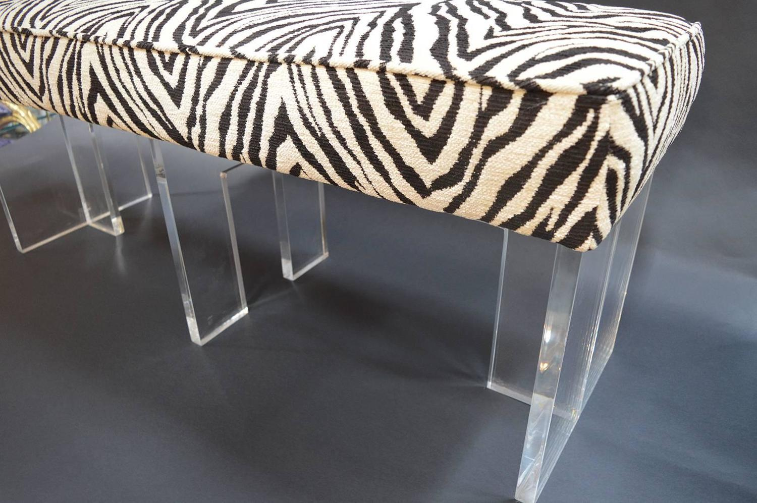 Zebra print upholstered lucite bench for sale at 1stdibs Leopard print bench