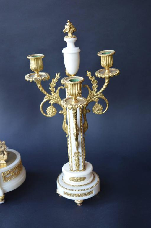 Gilt French Marble and Gilded Bronze Clock Set For Sale