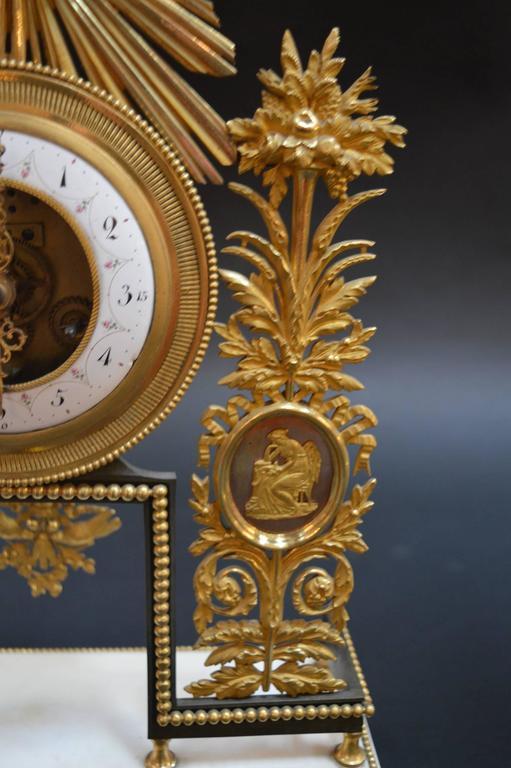 French 19th Century Sunburst Clock For Sale