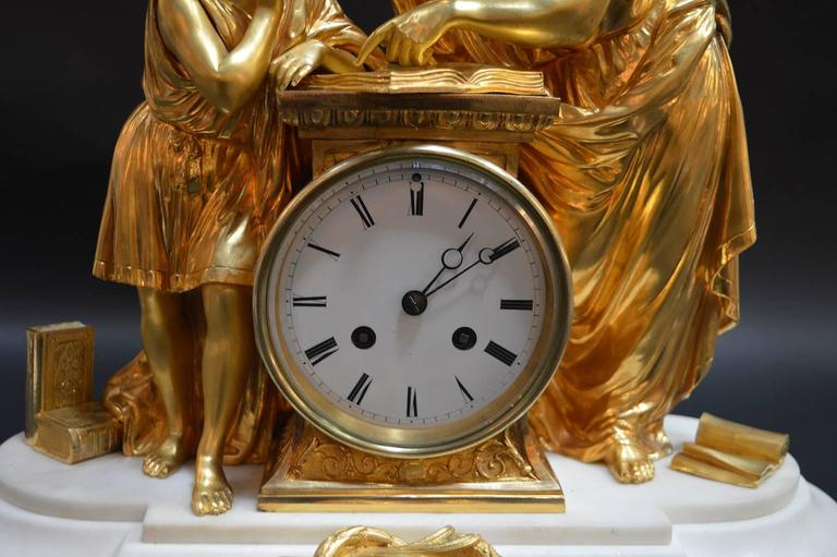 19th Century French Doré Bronze and White Marble Figural Clock In Excellent Condition For Sale In Los Angeles, CA