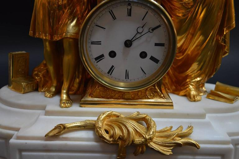 19th Century French Doré Bronze and White Marble Figural Clock For Sale 2