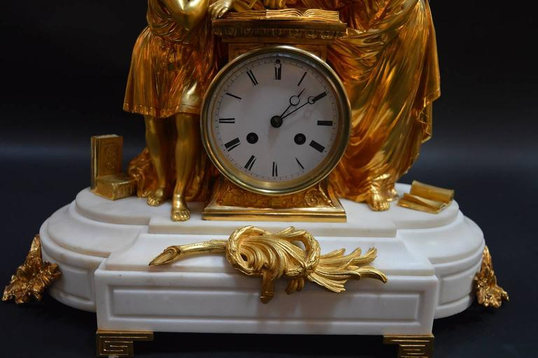 19th Century French Doré Bronze and White Marble Figural Clock For Sale 3