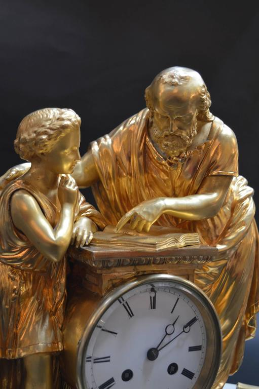 19th Century French Doré Bronze and White Marble Figural Clock For Sale 6