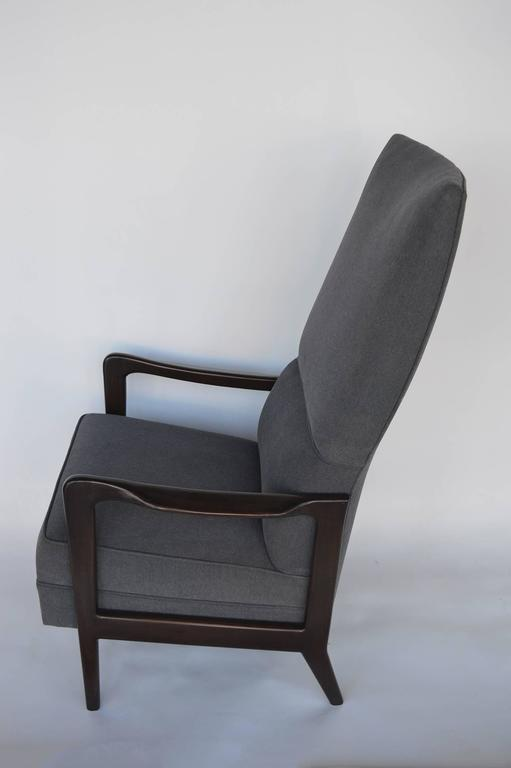 Pair of Italian armchairs with wooden frame. Chairs have been newly upholstered.