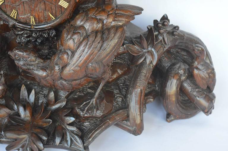 Hand-Carved Wooden Clock In Excellent Condition For Sale In Los Angeles, CA