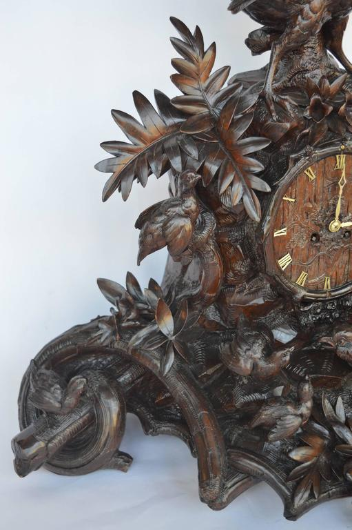 19th Century Hand-Carved Wooden Clock For Sale
