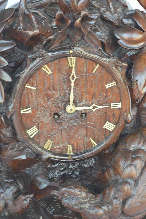 Brass Hand-Carved Wooden Clock For Sale
