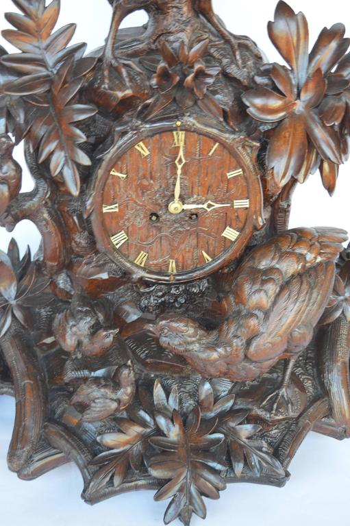 Hand-Carved Wooden Clock For Sale 1