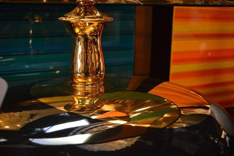 Pair of Italian pebble lamps with gold. crestani ceramiche.