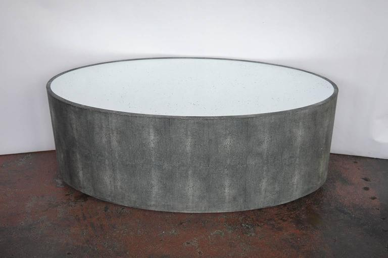 pair of oval faux shagreen coffee table for sale at 1stdibs. Black Bedroom Furniture Sets. Home Design Ideas
