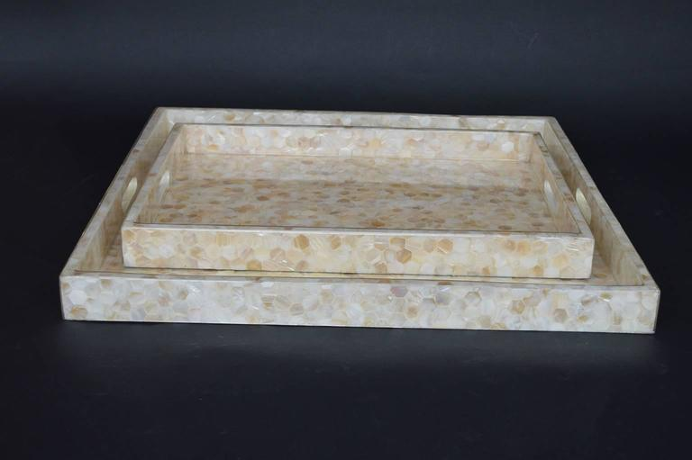 Pair Of Honey Mother Of Pearl Trays At 1stdibs