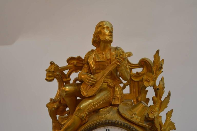 19th century French gilt bronze clock. Clock is in working condition.