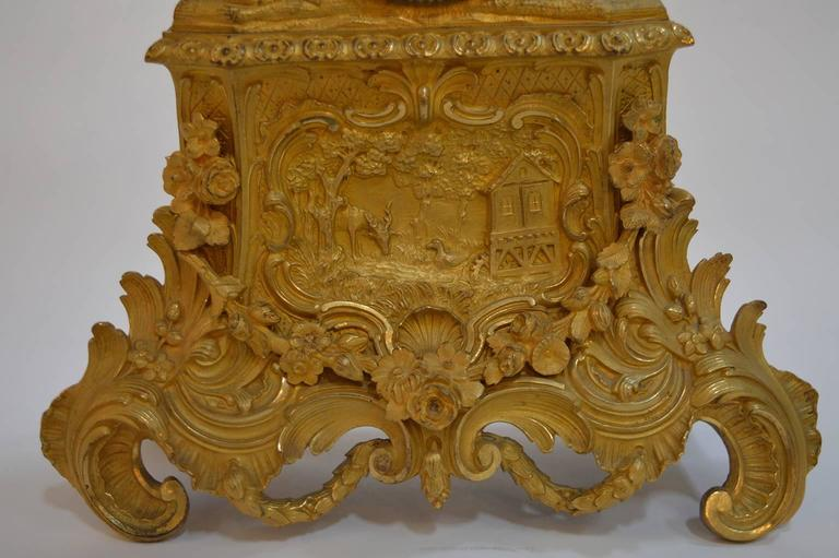 19th Century French Gilt Bronze Clock For Sale 3
