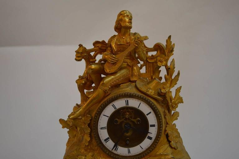 19th Century French Gilt Bronze Clock For Sale 1