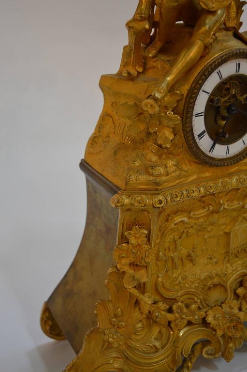 19th Century French Gilt Bronze Clock For Sale 2