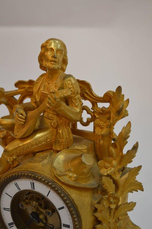19th Century French Gilt Bronze Clock In Excellent Condition For Sale In Los Angeles, CA