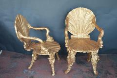 Two Giltwood Grotto Chairs